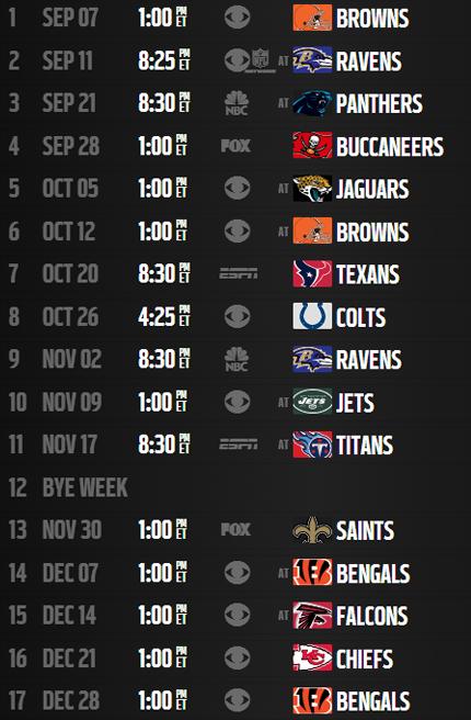 steelers 2014 schedule