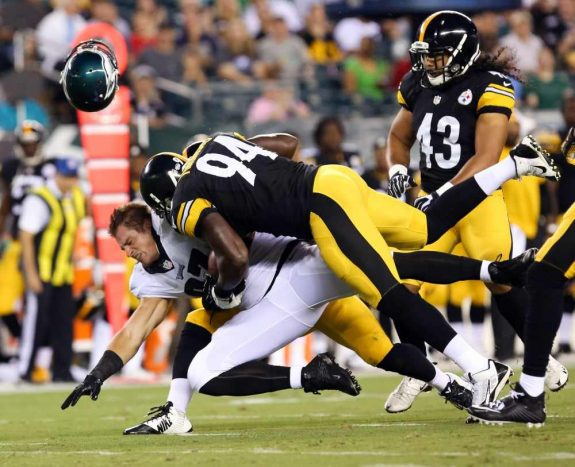 Lawrence-Timmons-Brett-Celek-Steelers-Eagles-2014-NFL-Preseason-USAToday