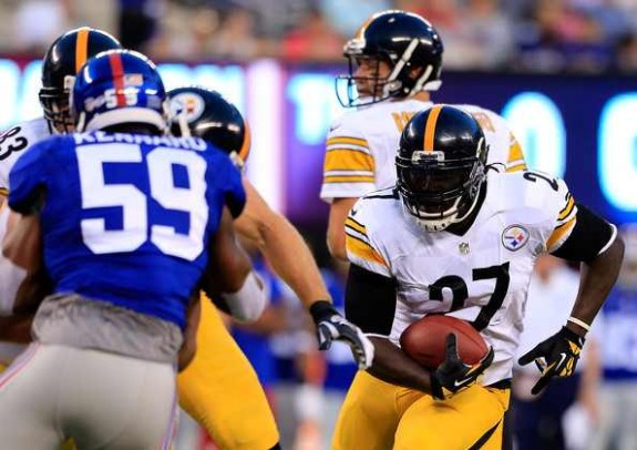 Running back LeGarrette Blount #27 of the Pittsburgh Steelers carries the ball against the New York Giants during a preseason game at MetLife Stadium on August 9, 2014 in East Rutherford, New Jersey.