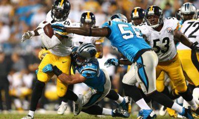 LeVeon+Bell+Pittsburgh+Steelers+vs+Thomas+Davis+Carolina+Panthers+2014+Week+Three+NFL