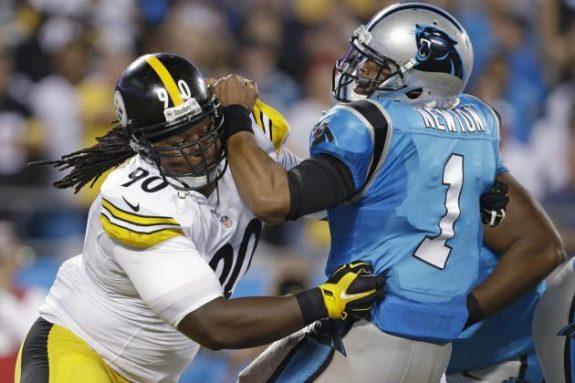 Steelers+vs+Panthers+2014+week+4+nfl+Steve+McLendon+Cam+Newton
