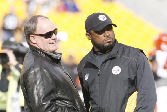 Mike+Tomlin+Kevin+Colbert+Pittsburgh+Steelers+LeClaire+USA+Today
