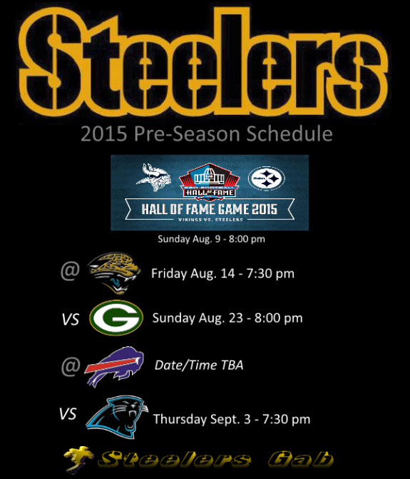 Steelers release 2015 preseason contests
