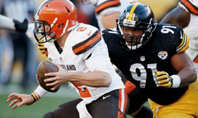 Steelers DE Stephon Tuitt sacks Johnny Manziel of the Browns