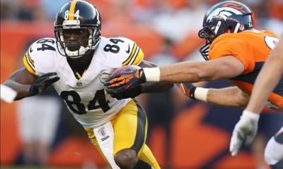 Steelers wide receiver Antonio Brown makes a catch against the Denver Broncos
