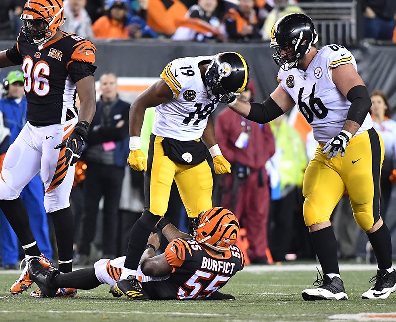 444ffcdee12 Steelers rookie wide receiver JuJu Smith-Schuster was been suspended one  game each by the NFL for violating league safety rules